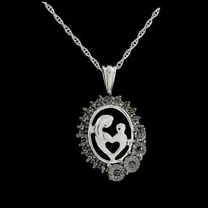 """Black Diamond Sterling Silver Mother & Child Love Pendant With 18"""" Chain"""