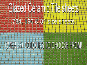 Glazed Ceramic 10mm Mosaic Tiles. OVER 35 COLOURS & 3 SHEET SIZES TO CHOOSE FROM