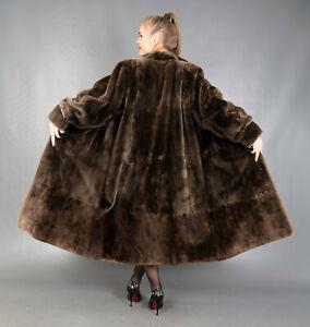 409 AMAZING REAL SHEARED BEAVER FUR COAT LUXURY FUR VERY LONG BEAUTIFUL SIZE XL