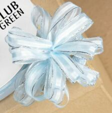 FULL REEL BABY BLUE ORGANZA PULL BOW RIBBON SILVER GLITTER EDGED REEL10mm x 25M