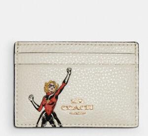 ⭐️ New NWT Coach Marvel Carol Danvers Leather Flat Card Case Holder 3605