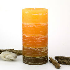 "Orange Rustic Candle 3 x 6"" - Orange to Brown Striped Pillar Candle - Fall"