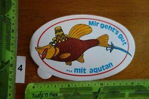 Alter Aufkleber Aquarium Fische Futter Medizin AQUTAN (A)
