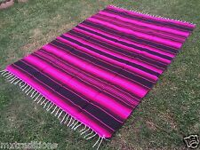 "Mexican Blanket Sarape Pink-Black. Acrylic""84x60"" Made in Mexico"