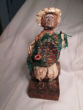 "Mexican Folk Art Paper Mache Clay Figurine Xalisco Village People Rustic 7"" VTG"
