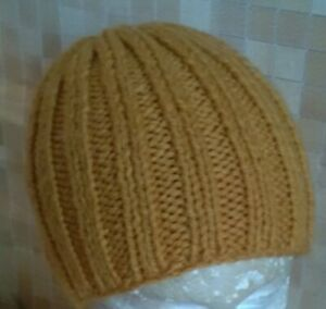 Handmade Hand-knitted Beanie Hat in mustard colour M-L