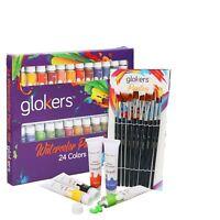 Premium Watercolor Paint Set by Glokers 24 COLOR Paint Tubes + 10 Brushes