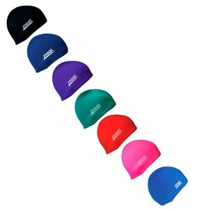 Zoggs Deluxe Swim Cap Fabric One Size Fits All Black, Royal Blue, Purple