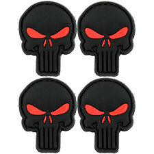 4x Punisher Black PVC Morale Patch 3D Tactical Airsoft Badge Hook #25 Airsoft