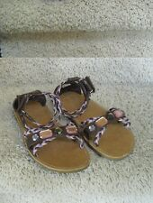 Gymboree Glamour Safari brown lavender pink gem sandals shoes sz 11 po EUC
