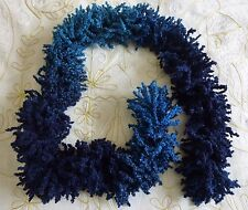 New hand-knitted ladies scarf. Blue/turquoise colour-blend textured yarn.