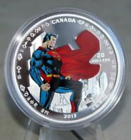 Canadian Mint 75th Anni 1 oz $20 Fine Silver Coin Superman Man of Steel 2013