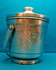 Vintage Italian Ice Bucket Hand Wrought Double Wall Hammered Aluminum Italy