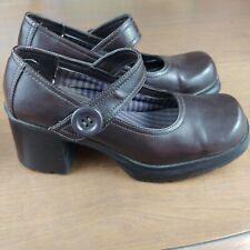 90s American Eagle Brown Mary Janes Chunky Heels Women's Sz 7 Vintage/Retro