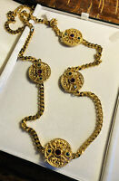 Vintage Gold Plated Etruscan Roman Long Length Necklace