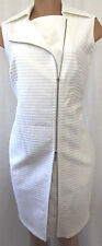 AKRIS PUNTO WHITE WIGGLE/PENCIL 100% COTTON DRESS SIZE US 10