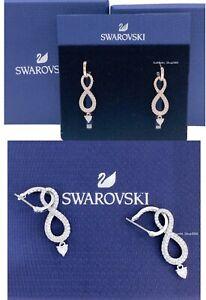 SWAROVSKI Rose Gold Rhodium Pave Crystal Infinity Heart Earrings 5512625 5520578
