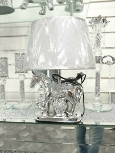 38Cm Silver Ceramic Crushed Diamond Horse With Heart Lamp