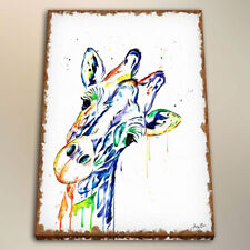 Watercolor Painting Art HD Print Kids Room Decor Giraffe on The Canvas 24x32