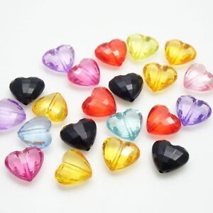 Set of 21! Heart Shape Checkerboard Cut Beads - Multi Color - 16x18mm - 31g