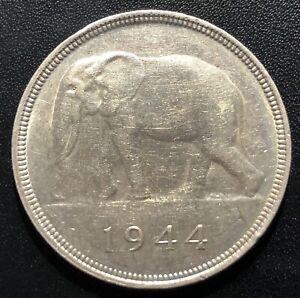 Belgian Congo 1944 50 Francs Silver Coin: African Elephant