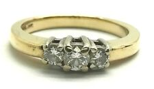 14K Yellow Gold .30 CTW Three Stone Diamond Petite Engagement Wedding Band Ring