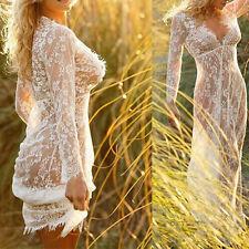 New Womens Sexy Transparent Deep V-Neck Long Lace Maxi Dress Nightwear Be kapa