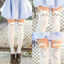 New White Kitten Print Knee High Length Socks Cat Tail Tattoo Tights Pantyhose