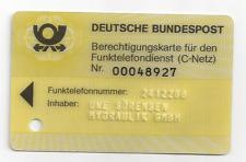 Telefonkarte-Gelbe Berechtigungskarte für den Funktelefondienst C- Netz Sörensen