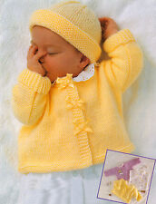 "Easy Beginner Baby Jacket Sweater Bolero & Hat 17"" - 23"" DK Knitting Pattern 159"