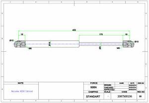 2x Gasfeder/ Gasdruckfeder/Dämpfer Mercedes CLK C208 Cabriolet fürs Verdeck