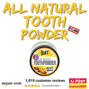 The Dirt Natural Tooth Powder Toothpaste Fluoride Free MCT Oil Bentonite Clay