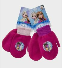 Disney Frozen Applique Girls Knitted Mittens  One size will fit sizes up to 3/4y