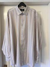 "Ben Sherman white brown beige stripe poly cotton long sleeve shirt 18 chest 52"""