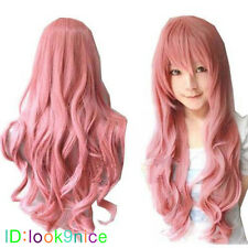New Fashion Long Pink Curly lady's Cosplay Party Hair Wig/Wigs+free wig cap
