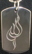 Allah Islamic Religion calligraphy Tag Pendant Necklace