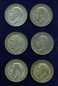 GREAT BRITAIN HALF-CROWN COINS: 1920, 1921, 1923, 1926, 1927, & 1928, LOT OF (6)