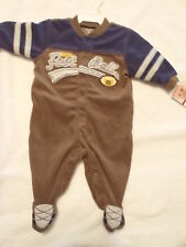 CARTERS Baby Boys 3 Month Brown Football Polyester Pajama Sleeper Outfit NWT