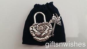 Embossed Antique/Vintage Style Padlock & Key