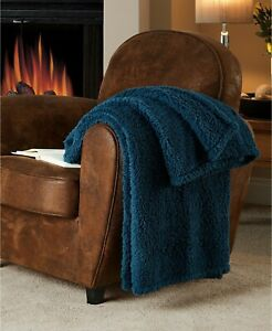 """Victoria Classics Fireside NAVY SHERPA THROW BLANKET 50"""" X 60"""" - New & Sealed"""
