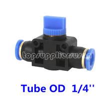 5pcs Pneumatic Union Straight Three-way Hand Valve Tube OD 1/4'' Push to Connect