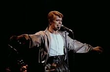 """12""""*8"""" concert photo of David Bowie playing at Newcastle in 1978"""