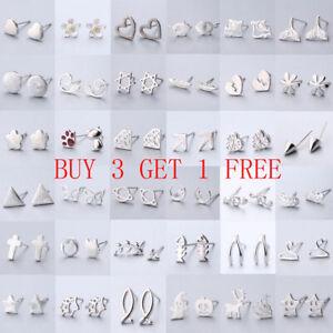 Women Wedding Elegant 925 Silver Plated Crystal Rhinestone Ear Stud Earrings