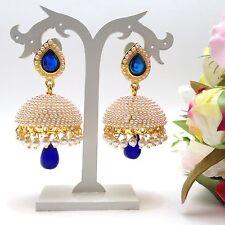 "Indian Bridal Jewellery Bollywood Asian Ethnic Wear Polki Earrings Length:2.4"""