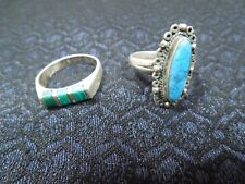 Set of 2 Vintage Sterling Silver Turquoise & Malachite Rings 6-6.5