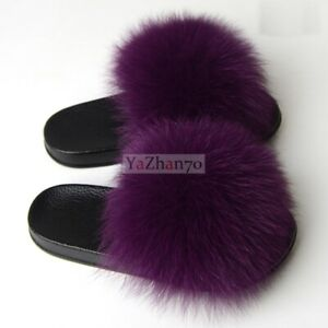 Luxury Fluffy Real Fox Raccoon Fur Women Slippers Shoes Vogue Flat Slides Sandal