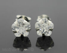7MM REAL SOLID 925 STERLING SILVER SIMULATED DIAMOND FLOWER LADIES EARRINGS