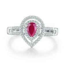 18K White Gold 0.76CT Pear Ruby Double Halo Real Diamonds Engagement Fine Ring