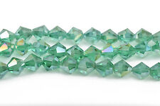 8mm GREEN AB Bicone crystal Beads, Transparent fct Beads, ~35 beads bgl1446
