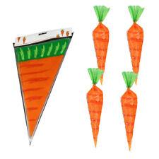 20pcs Easter Carrot Candy Bag  Rabbit Gift Bag Candy Cones Transprant Bag